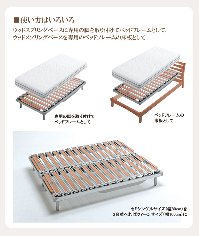 イタリア製ウッドスプリングベッド